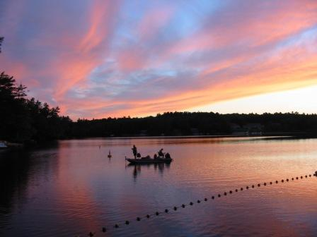 A pair of fishermen try and catch one more before nightfall on The Basin